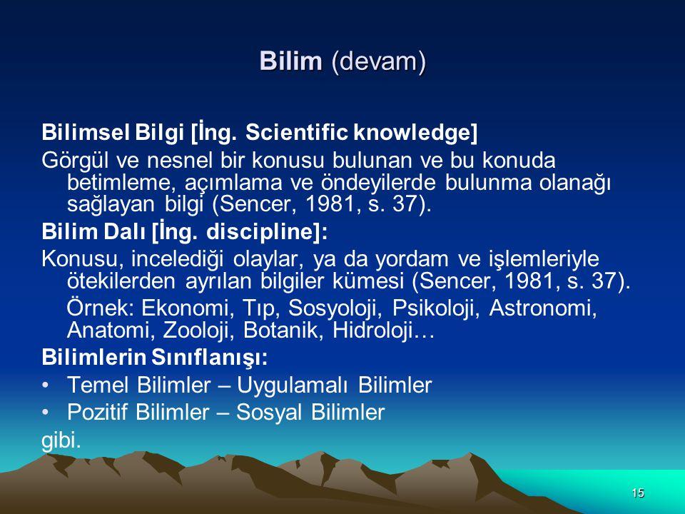 Bilim (devam) Bilimsel Bilgi [İng. Scientific knowledge]